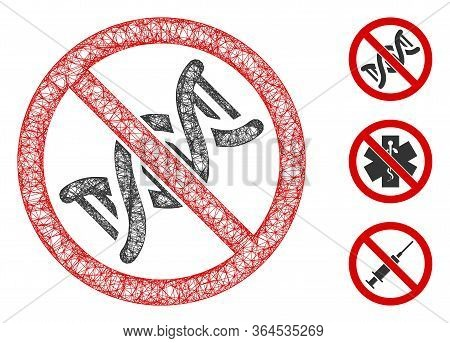 Mesh No Dna Helix Polygonal Web 2d Vector Illustration. Carcass Model Is Based On No Dna Helix Flat