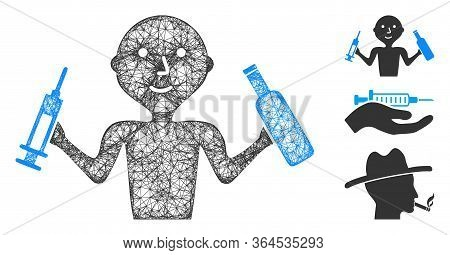 Mesh Addict Man Polygonal Web Icon Vector Illustration. Carcass Model Is Created From Addict Man Fla