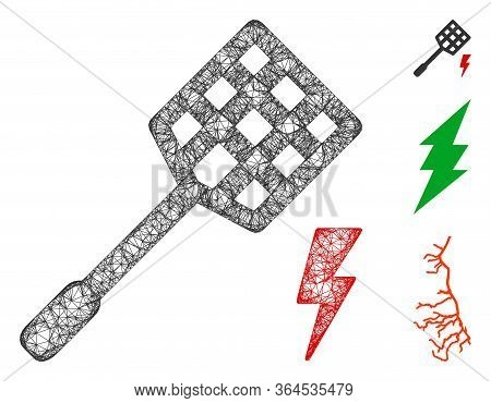 Mesh Electric Fly Killer Polygonal Web Icon Vector Illustration. Model Is Based On Electric Fly Kill