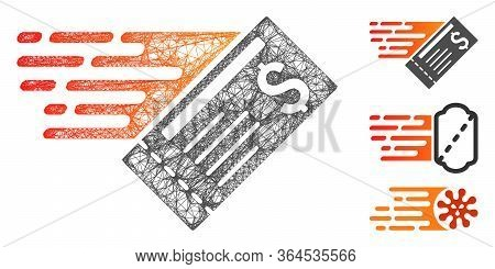 Mesh Express Cheque Polygonal Web 2d Vector Illustration. Abstraction Is Based On Express Cheque Fla