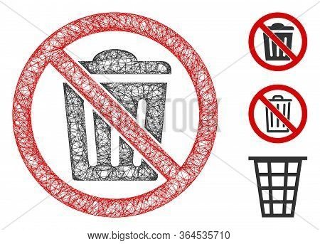 Mesh No Trash Can Polygonal Web Icon Vector Illustration. Model Is Based On No Trash Can Flat Icon.