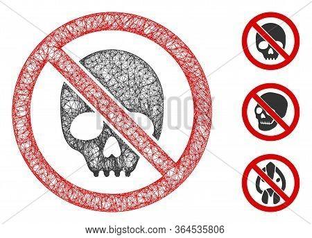 Mesh No Skull Polygonal Web 2d Vector Illustration. Abstraction Is Based On No Skull Flat Icon. Tria