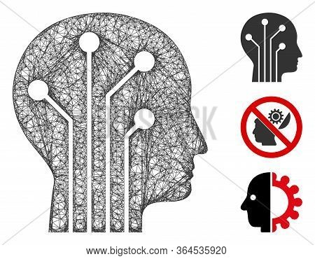 Mesh Cyborg Head Circuit Polygonal Web Icon Vector Illustration. Carcass Model Is Based On Cyborg He