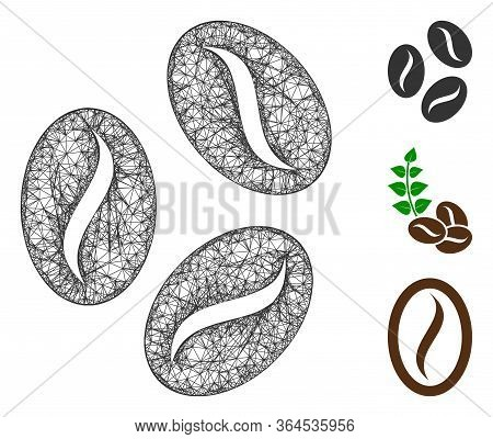 Mesh Cocoa Beans Polygonal Web Icon Vector Illustration. Model Is Based On Cocoa Beans Flat Icon. Tr