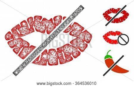 Mesh No Kiss Polygonal Web Icon Vector Illustration. Carcass Model Is Based On No Kiss Flat Icon. Tr