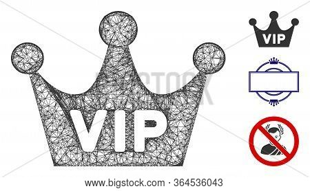 Mesh Vip Crown Polygonal Web Icon Vector Illustration. Carcass Model Is Created From Vip Crown Flat