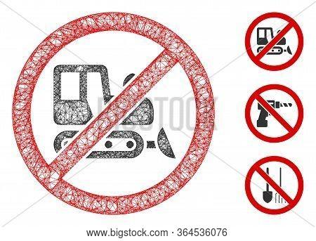 Mesh No Bulldozer Polygonal Web Icon Vector Illustration. Carcass Model Is Based On No Bulldozer Fla