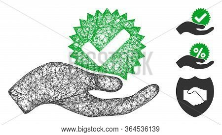 Mesh True Bonus Polygonal Web Symbol Vector Illustration. Model Is Based On True Bonus Flat Icon. Tr