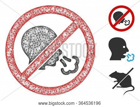 Mesh No Sneeze Polygonal Web Icon Vector Illustration. Model Is Based On No Sneeze Flat Icon. Triang