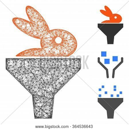 Mesh Rabbit Puree Funnel Polygonal Web Icon Vector Illustration. Carcass Model Is Based On Rabbit Pu