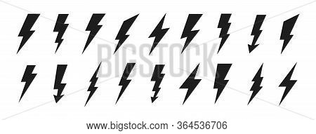 Lightning Icons Set. Thunder And Bolt. Flash Icon. Lightning Bolt. Black And Yellow Silhouette. Vect