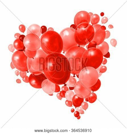 Warm Red Balloons Flying In Heart Shape Formation White Background
