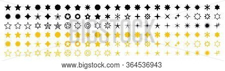 Stars Set Of 132 Black And Yellow Icons. Rating Star Icon. Star Vector Collection. Modern Simple Sta