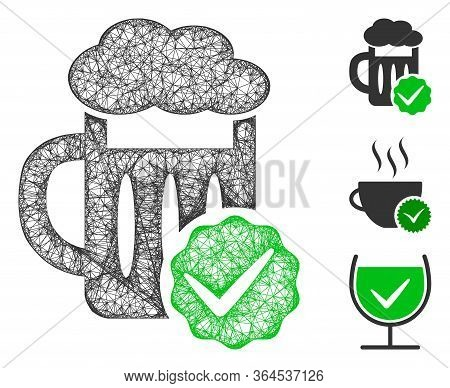 Mesh Best Beer Polygonal Web Icon Vector Illustration. Model Is Based On Best Beer Flat Icon. Triang