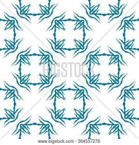Chevron Watercolor Pattern. Blue Beautiful Boho Chic Summer Design. Textile Ready Grand Print, Swimw