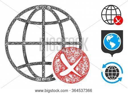 Mesh Stop Global Web Polygonal Web Symbol Vector Illustration. Carcass Model Is Based On Stop Global