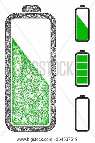 Mesh Battery Level Polygonal Web 2d Vector Illustration. Carcass Model Is Based On Battery Level Fla