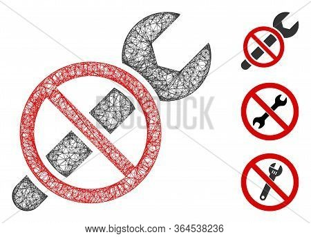 Mesh Forbidden Repair Polygonal Web Symbol Vector Illustration. Carcass Model Is Based On Forbidden