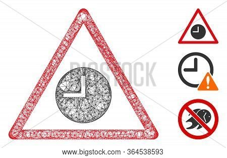 Mesh Expired Warning Polygonal Web Icon Vector Illustration. Carcass Model Is Created From Expired W