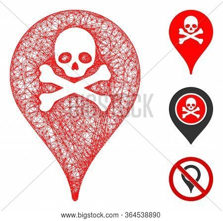 Mesh Danger Zone Map Marker Polygonal Web Symbol Vector Illustration. Carcass Model Is Based On Dang