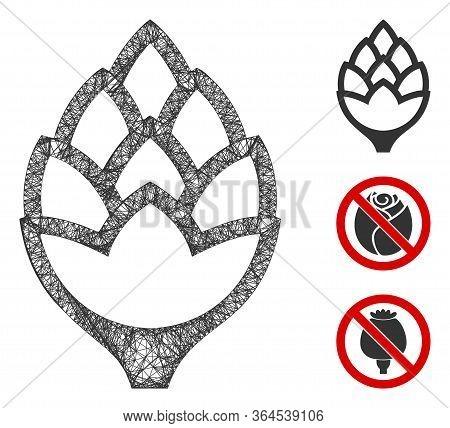 Mesh Hop Bud Polygonal Web Icon Vector Illustration. Carcass Model Is Based On Hop Bud Flat Icon. Tr