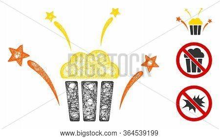 Mesh Popcorn Fireworks Polygonal Web 2d Vector Illustration. Abstraction Is Based On Popcorn Firewor