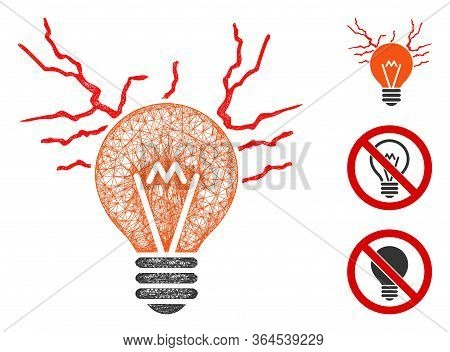 Mesh Electric Sparks Bulb Polygonal Web 2d Vector Illustration. Abstraction Is Based On Electric Spa