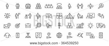 Set Of 40 Business People And Teamwork Web Icons In Line Style. Business, Teamwork, Leadership, Mana