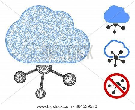 Mesh Cloud Network Polygonal Web Icon Vector Illustration. Model Is Based On Cloud Network Flat Icon