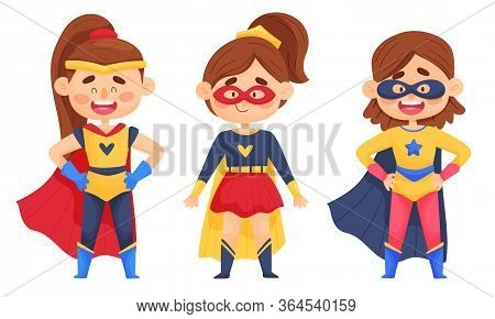 Smiling Girl Character In Superhero Costume And Cloak Standing Ready To Save The World Vector Illust