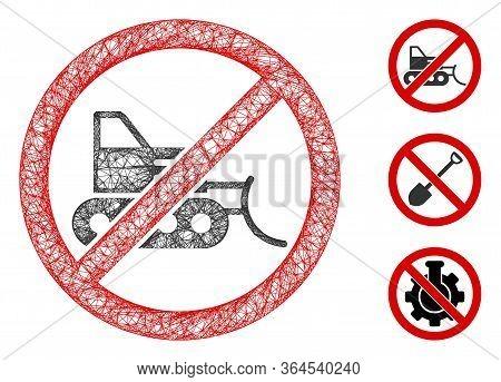 Mesh No Bulldozer Polygonal Web Symbol Vector Illustration. Carcass Model Is Based On No Bulldozer F