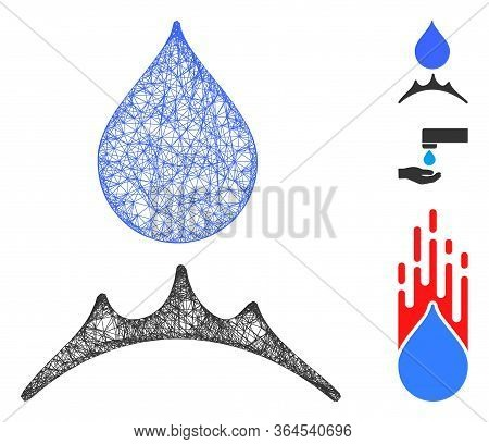 Mesh Water Resistent Polygonal Web Icon Vector Illustration. Carcass Model Is Based On Water Resiste