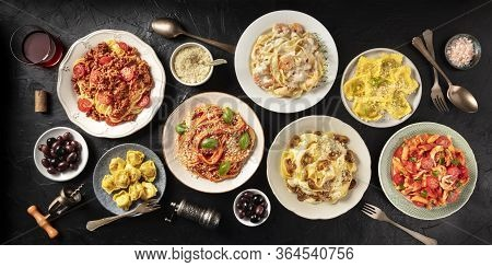 Pasta. Assortment Of Italian Pasta Dishes, Including Spaghetti Bolognese, Penne With Chicken, Tortel