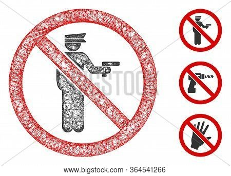 Mesh No Police Gun Polygonal Web Icon Vector Illustration. Carcass Model Is Based On No Police Gun F