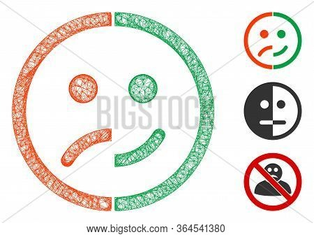 Mesh Bipolar Emotion Polygonal Web Icon Vector Illustration. Carcass Model Is Based On Bipolar Emoti