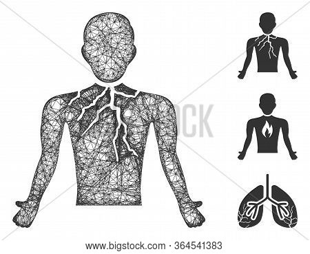 Mesh Chest Cancer Polygonal Web Icon Vector Illustration. Carcass Model Is Created From Chest Cancer