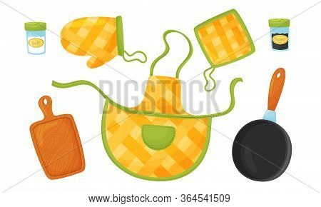 Kitchen Handy Textile And Tools For Cooking Food With Apron And Frying Pan Vector Set