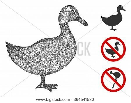 Mesh Duck Polygonal Web 2d Vector Illustration. Carcass Model Is Based On Duck Flat Icon. Triangular