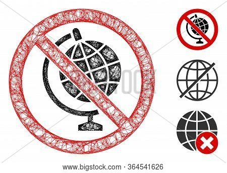 Mesh No Globe Model Polygonal Web 2d Vector Illustration. Carcass Model Is Based On No Globe Model F