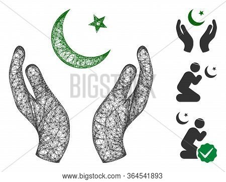 Mesh Praying Muslim Hands Polygonal Web Icon Vector Illustration. Carcass Model Is Based On Praying