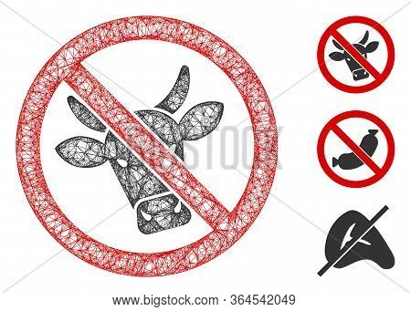 Mesh No Beef Polygonal Web Symbol Vector Illustration. Carcass Model Is Based On No Beef Flat Icon.