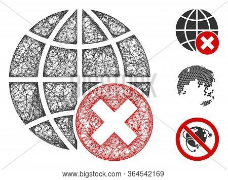 Mesh Stop Globalization Polygonal Web Symbol Vector Illustration. Carcass Model Is Based On Stop Glo