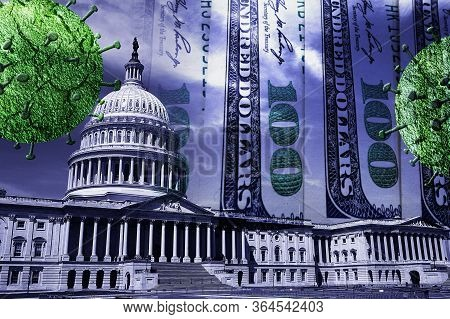 The United States Capitol With Money And Coronavirus Image