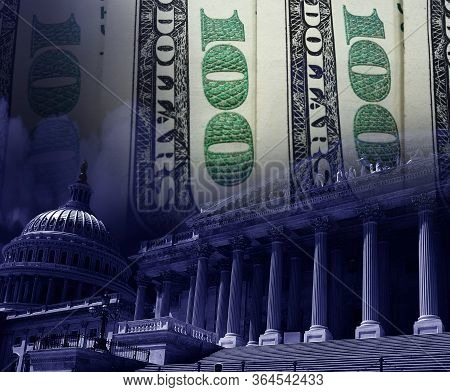 The Us Capitol In Washington Dc With Hundred Dollar Bills