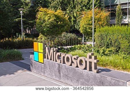 Company Logotype - Microsoft Corporation Headquarters. Redmond. Washington State, Usa. August 2019.