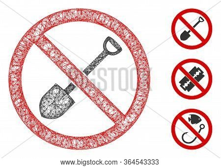 Mesh No Digging Polygonal Web Icon Vector Illustration. Abstraction Is Based On No Digging Flat Icon