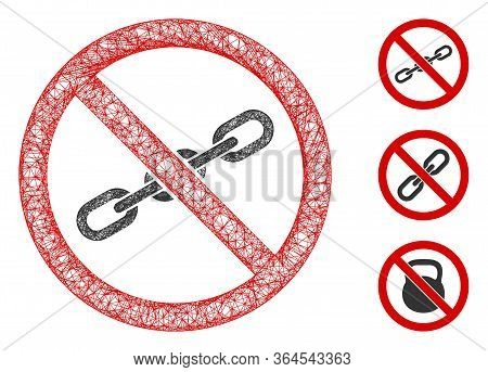 Mesh No Chain Polygonal Web Icon Vector Illustration. Carcass Model Is Based On No Chain Flat Icon.