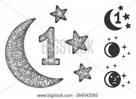 Mesh First Moon Night Polygonal Web Icon Vector Illustration. Model Is Based On First Moon Night Fla