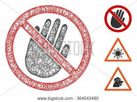 Mesh Restricted Hand Polygonal Web 2d Vector Illustration. Carcass Model Is Based On Restricted Hand