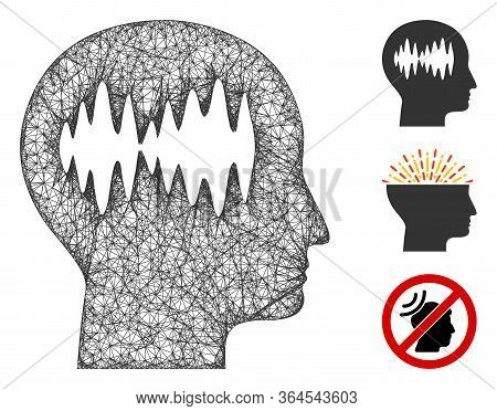 Mesh Brain Waves Polygonal Web Icon Vector Illustration. Model Is Created From Brain Waves Flat Icon